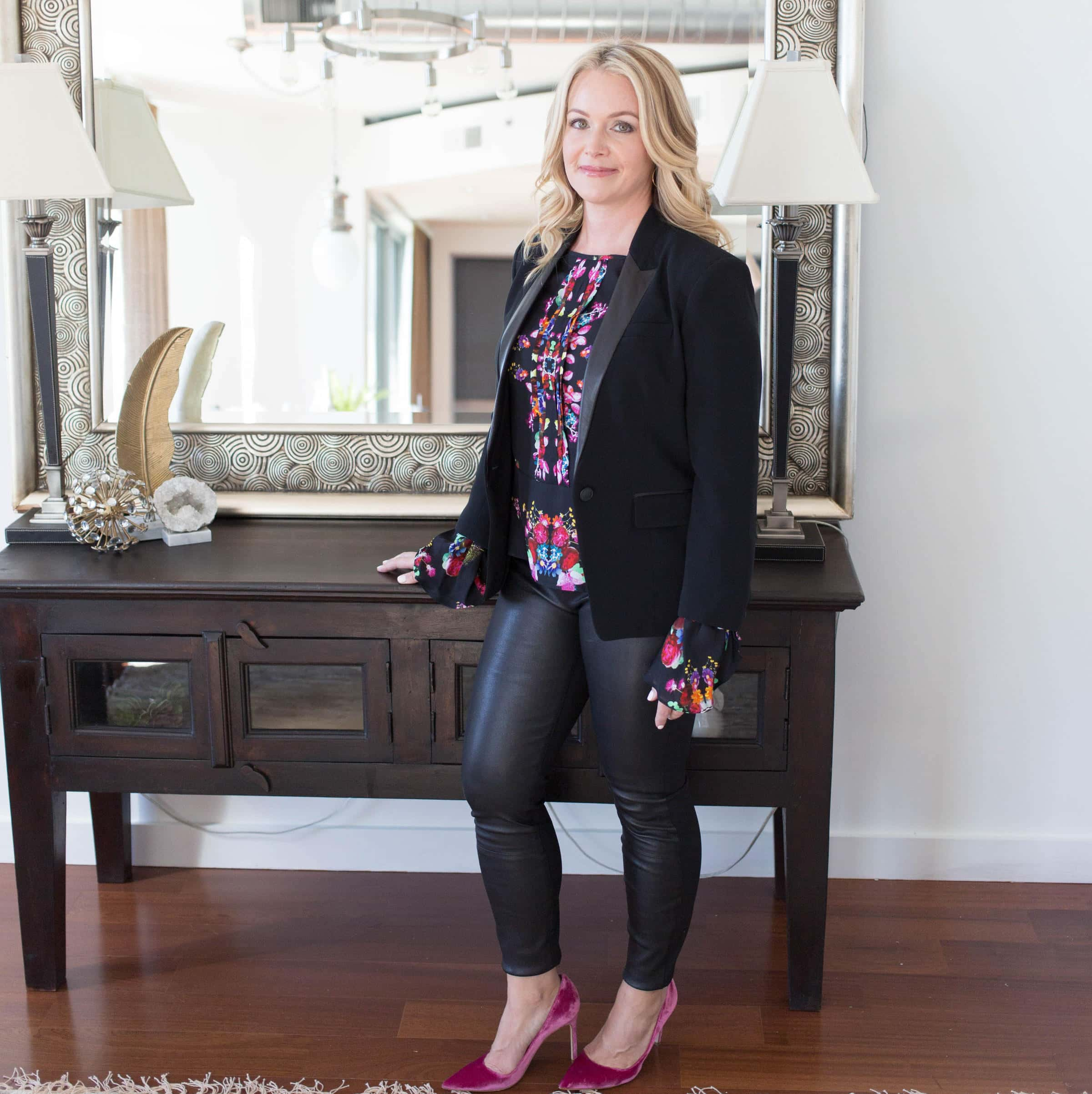 leather pants, jacket, blouse from #1, velvet heels
