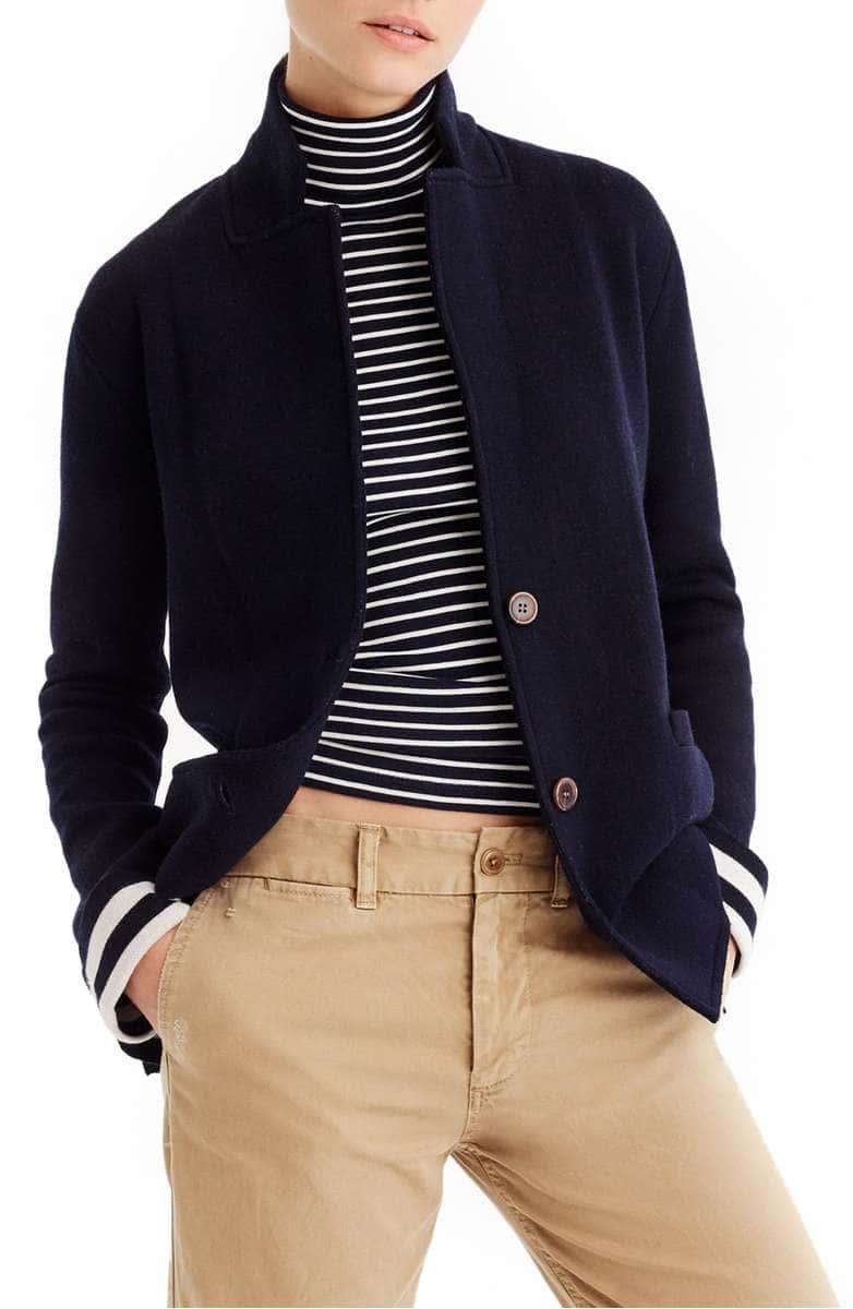 b79f70f8d88ce J. Crew  Stripe Lining Merino Wool Sweater Blazer - YourStyleVault.com