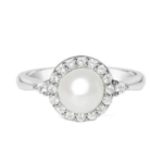 Pearl & White Sapphire Cocktail Ring (SALE)